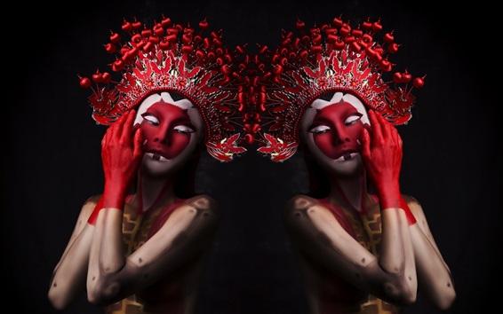 Wallpaper Two girls, makeup, headwear, Chinese Opera style