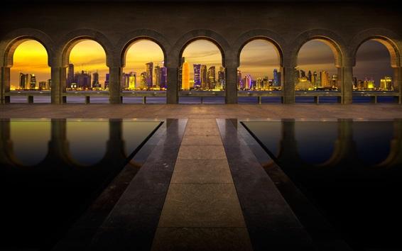 Fondos de pantalla Emiratos Árabes Unidos, Dubai, arco, noche, edificios