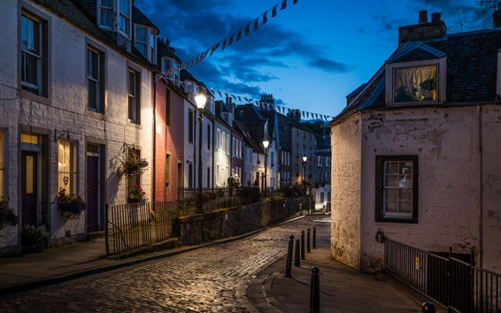 Wallpaper United Kingdom, Scotland, South Queensferry, city, houses, road, lights, night