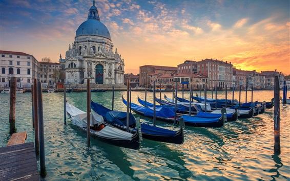 Papéis de Parede Veneza, Grande Canal, barcos, catedral, Itália