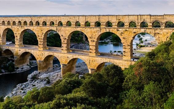 Wallpaper Viaduct, bridge, arch, trees, river