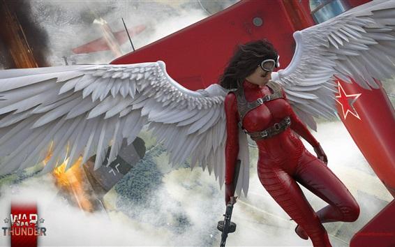 Wallpaper War Thunder, angel girl, wings