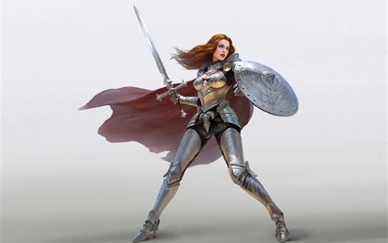 Wallpaper Warrior girl, red hair, armor, sword