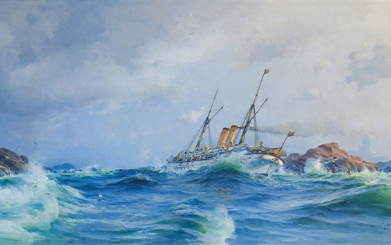Wallpaper Watercolor painting, sea waves, battleship, ocean