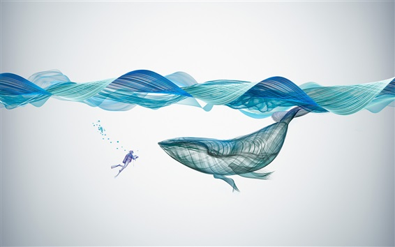 Wallpaper Whale, waves, underwater, abstract design