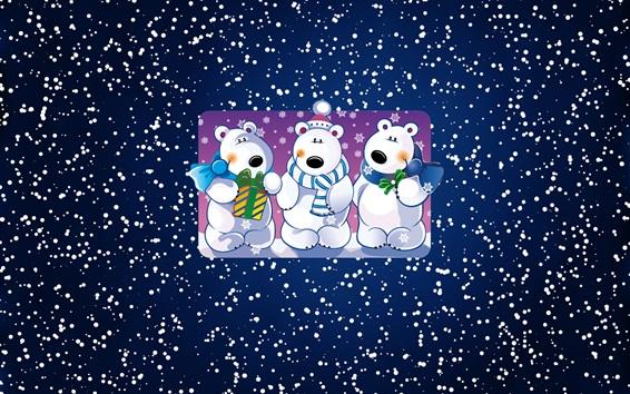 Wallpaper White bears, snowy, art picture