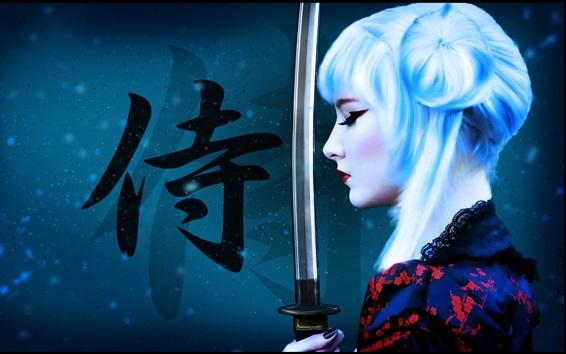 Fond d'écran Fille cheveux blancs, katana, arme, photo d'art