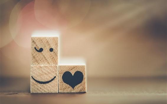 Wallpaper Wood cubes, emoticons