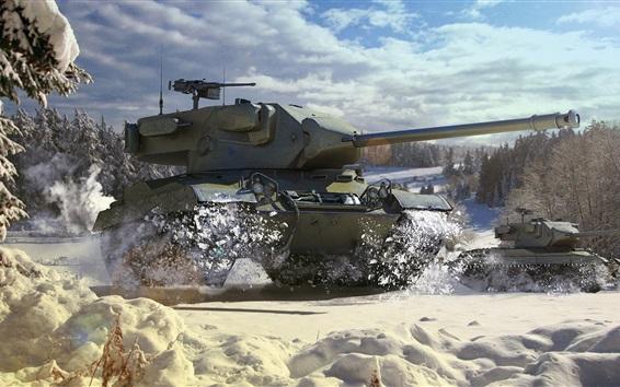 Wallpaper World of Tanks, light tank, snow, winter