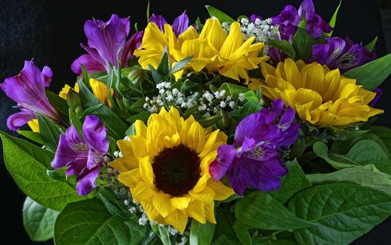 Gelbe, violette, weiße Blumen, Blumenstrauß 2880x1800 HD ...