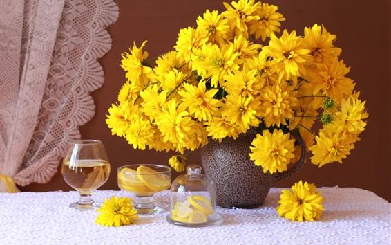Wallpaper Yellow rudbeckia flowers, vase, cups