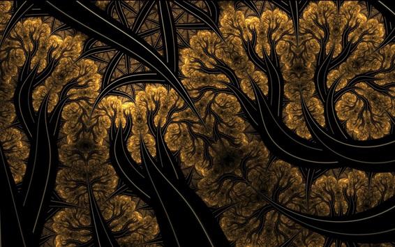 Papéis de Parede Quadro abstrato, árvores, linhas