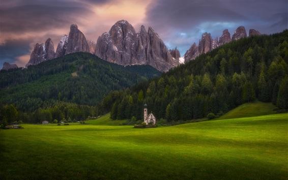 Wallpaper Alps, meadows, green, mountains, church
