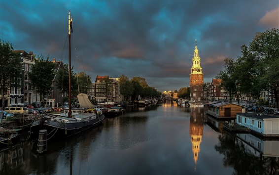 Wallpaper Amsterdam, Netherlands, night, river, boats, clouds, city