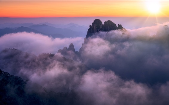 Обои Аньхой, Хуаншань, Китай, горы, туман, утро, восход солнца