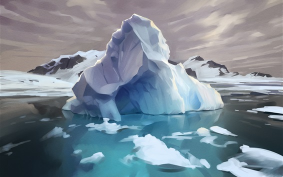 배경 화면 북극, 빙산, 얼음, 물, 예술 그림