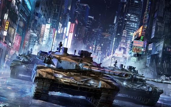 Wallpaper Armored Warfare, chinese city, night, houses, lights, rainy