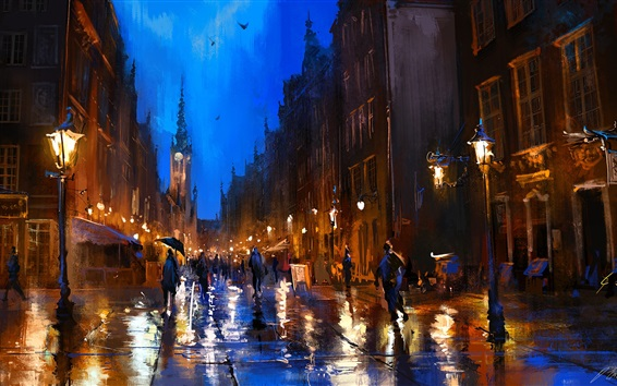 Wallpaper Art painting, Poland, street, rainy, night, people, lamp, buildings