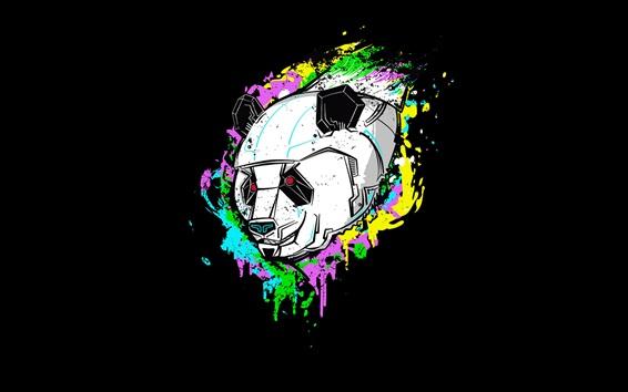 Papéis de Parede Imagens de arte, panda, robô, fundo preto