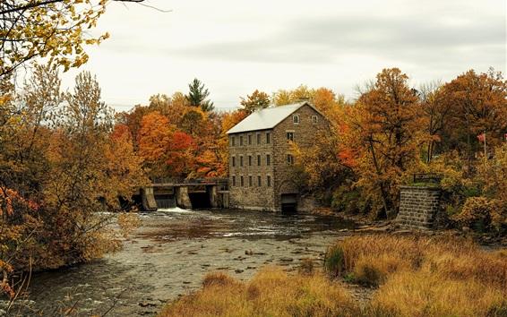 Wallpaper Autumn, bridge, trees, river, house, Manotick, Ottawa, Canada
