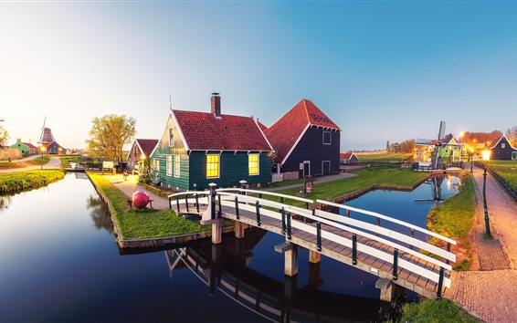Wallpaper Beautiful Netherlands, river, bridge, houses, windmills