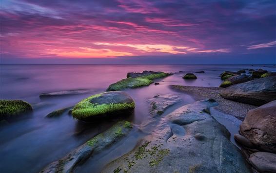 Wallpaper Beautiful seascape, sunset, stones, moss, dusk