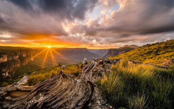 Wallpaper Beautiful sunset landscape, clouds, grass, mountain top