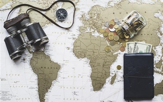 Wallpaper Binoculars, world map, purse, dollars