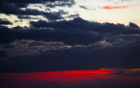 Wallpaper Black clouds, sky, sunset