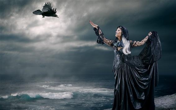 Wallpaper Black witch, raven