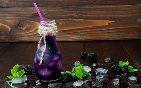 Wallpaper Blackberry, berry drinks, bottle, cold