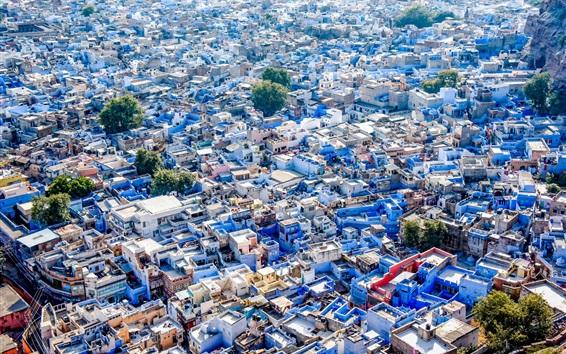Wallpaper Blue City, India, Jodhpur, houses