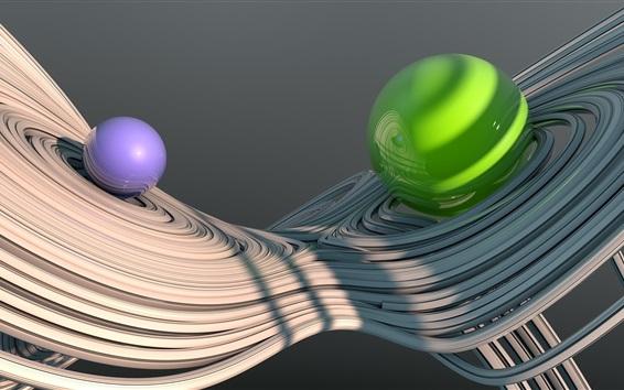 Wallpaper Blue and green balls, curves, 3D design