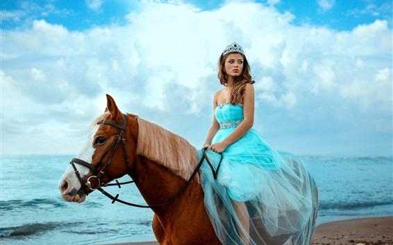 Обои Синяя юбка девушка верхом на лошади, море, небо, облака