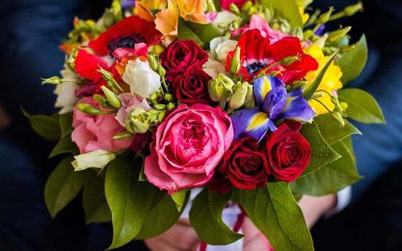 Wallpaper Bouquet, flowers, eustoma, irises, roses