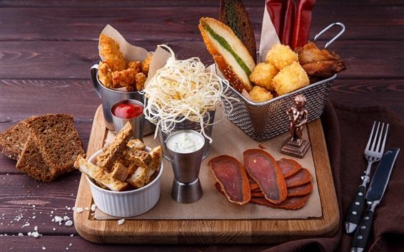 Fond d'écran Petit déjeuner, sauce, pain, fromage