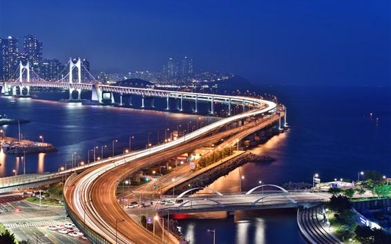 Wallpaper Bridge, roads, lights, city, night