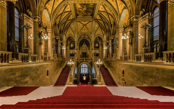 Wallpaper Budapest, Hungary, Parliament, main staircase, hall