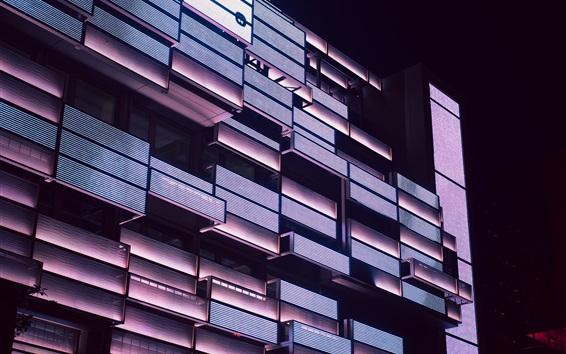 Wallpaper Building, balconies, lighting, night