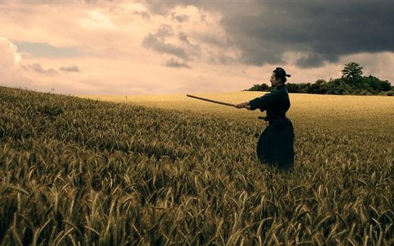 Wallpaper Bushido, katana, black kimono, wheat field