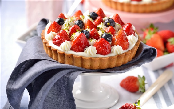 Wallpaper Cake, pie, strawberry, blueberries, delicious food