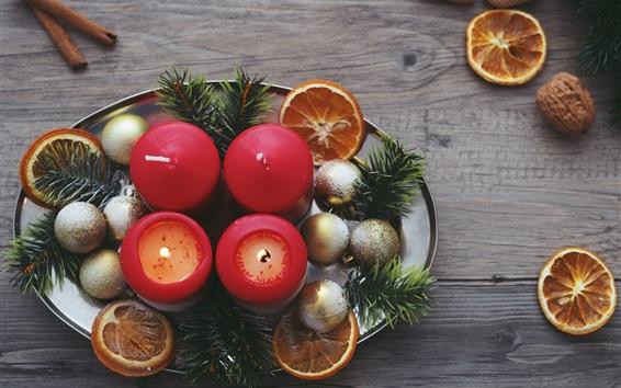 Wallpaper Candles, Christmas balls, nuts, decoration