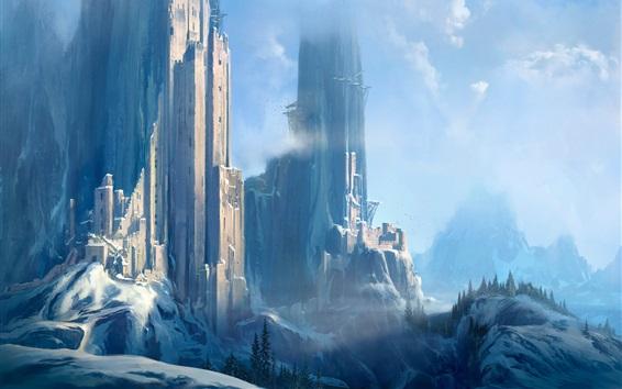 Fond d'écran Château, neige, tour, photo d'art