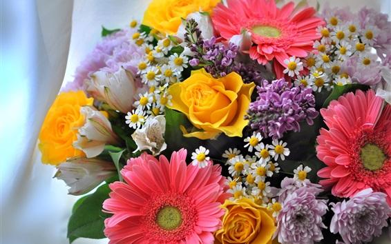 Papéis de Parede Camomila, crisântemo, gerbera, rosas