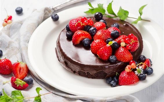 Wallpaper Chocolate cake, blueberries, strawberries, dessert
