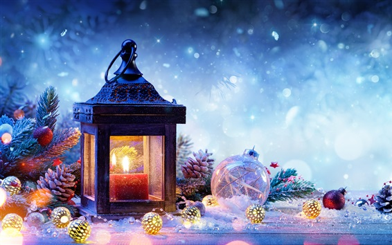 Wallpaper Christmas decorations, spruce, snow, lamp, balls, New Year