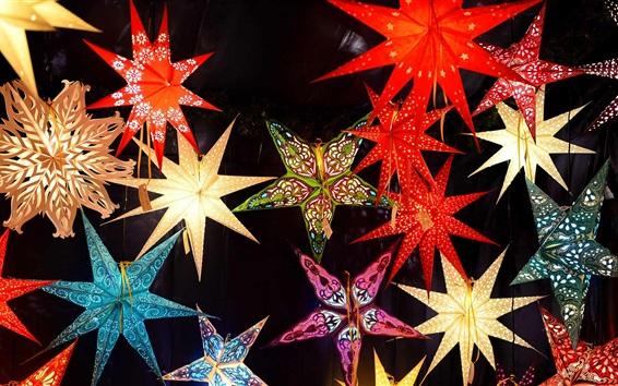 Wallpaper Christmas market, stars, decoration