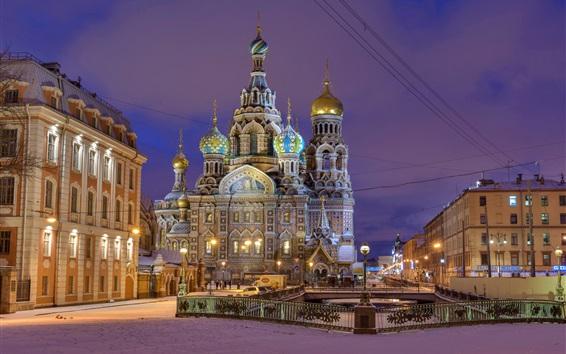 Papéis de Parede Igreja do Salvador, São Petersburgo, Rússia, crepúsculo