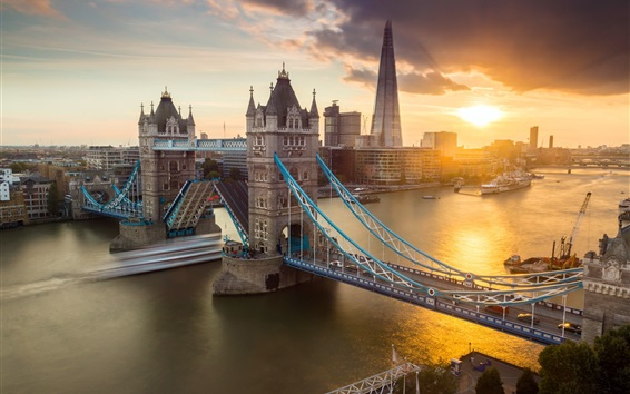 Обои Город, Лондон, Тауэрский мост, река, закат