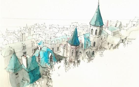 Wallpaper City, castle, simple drawing figure